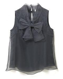 透明硬紗蝴蝶結無袖上衣-灰色