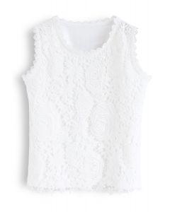 蕾絲鈎花背心-白色