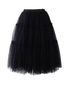 鬆緊腰身薄紗中長裙-黑色