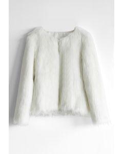 仿皮草短版外套-白色
