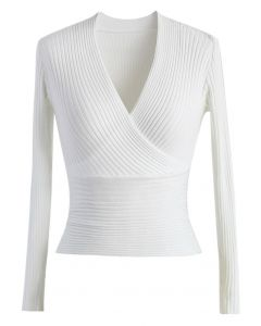 白色V領螺紋針織上衣