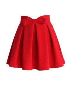 蝴蝶結褶皺半身裙 - 紅色