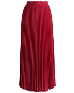 Belted Pleated Chiffon Maxi Skirt in Ruby