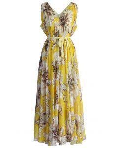 印花雪紡連身裙-黃色
