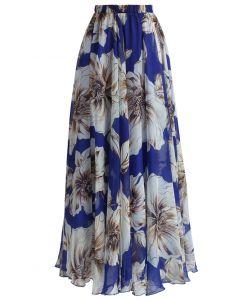 印花雪紡長裙 - 藍色