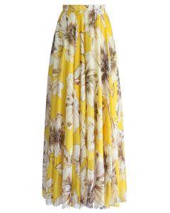 印花雪紡長裙-黃色
