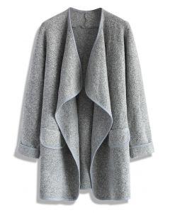 針織開襟外套-灰色