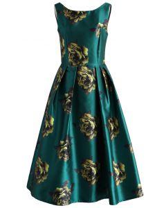 牡丹印花禮裙-祖母綠
