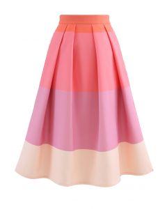 糖果色條紋印花中長裙