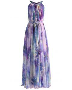 水彩印花細繩綁帶長裙-淡紫色