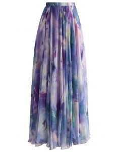 水彩印花飄逸雪紡長裙-紫色