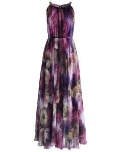 水彩花卉掛脖長裙 - 紫色