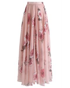 粉色玫瑰印花褶皺長裙