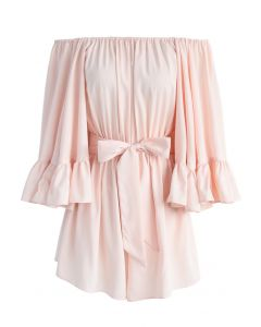 For the Frill of it Off-shoulder Playsuit in Pink