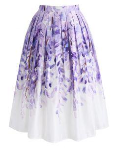 紫藤蘿印花褶皺中長裙