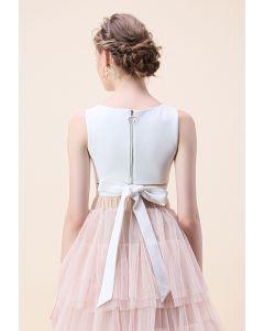 背部綁蝴蝶結短上衣--白色