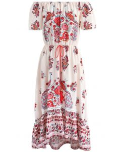 Flower and  Peacock Off-Shoulder Chiffon Dress