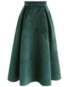 光澤感天鵝絨半身裙-深綠色