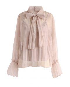 蝴蝶結網紗上衣-淺褐色