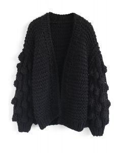 絨球袖子針織開衫-黑色