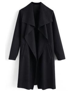 羊毛混紡開襟大衣-黑色