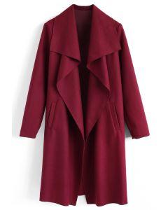 羊毛混紡開襟大衣-酒红色