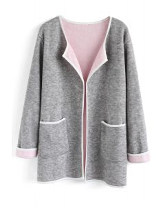 Comfy Contrast Open Front Knit Coat in Grey