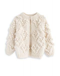 線球裝飾針織開衫童装-象牙白