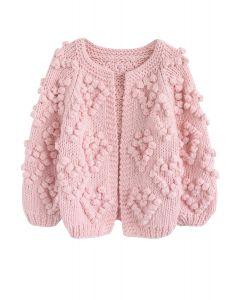 線球裝飾針織開衫-粉色