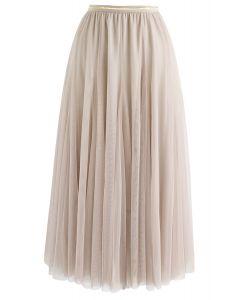 薄紗疊層中長裙- 米白色
