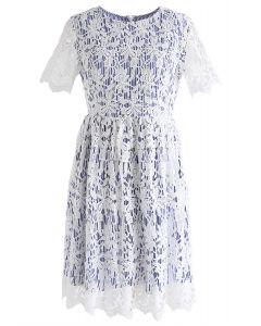 When Flower Crochet Meets Blue Stripe Dress