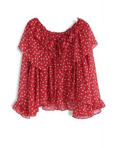 荷葉邊雪紡娃娃衫 - 紅色