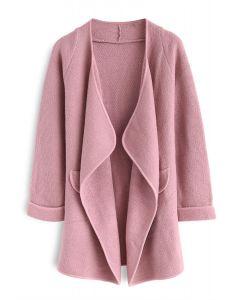 針織開襟外套-粉色
