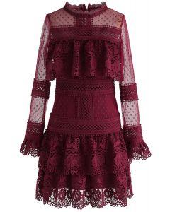 Sweet Destiny Tiered Crochet Mesh Dress in Wine