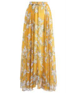花卉雪紡半身裙 - 黃色