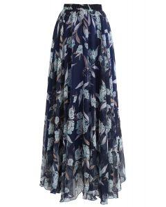花卉雪紡半身裙 - 海軍藍