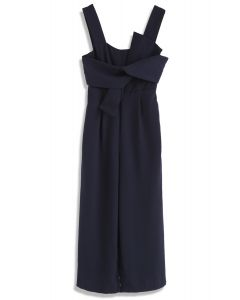Gracefulness Bowknot Jumpsuit in Navy