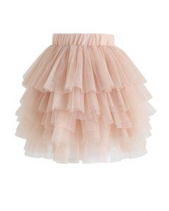 網紗曡層童裝半身裙 - 裸粉色