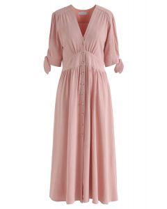 V領紐扣連身裙 - 桃紅色