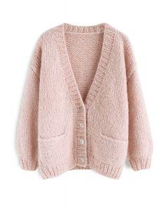 手工針織開衫 - 粉色