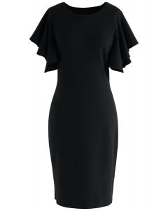 Out of Ordinary Ruffle Shift Knit Dress in Black