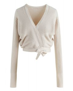 True Colors Knit Wrap Top in Ivory