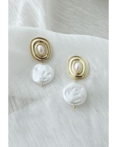 Shell White Coin Pearl Drop Earrings