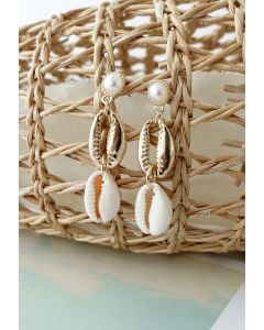 Double Cowrie Shell Charm Pearls Earrings
