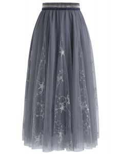 星星薄紗中長裙--灰色