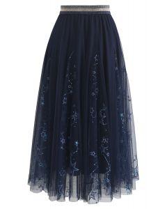 星星薄紗中長裙--海軍藍
