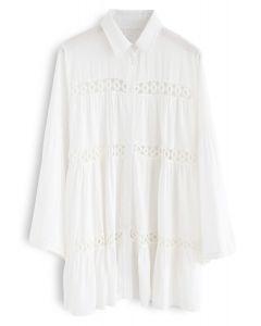 聽到Breeze Crochet鏤空長款襯衫