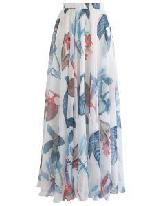熱帶花卉水彩半身裙--白色