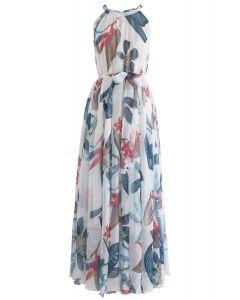 熱帶花卉水彩連衣裙--白色