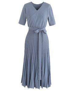 藍色輕鬆迷人針織連衣裙
